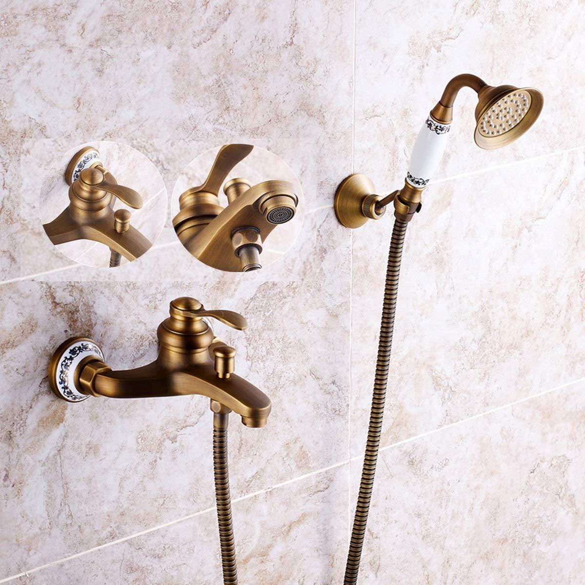 TANCHEN Antique Brass Shower Head Bathroom Tub Faucet Hand Held Tap Spray Waterfall Set