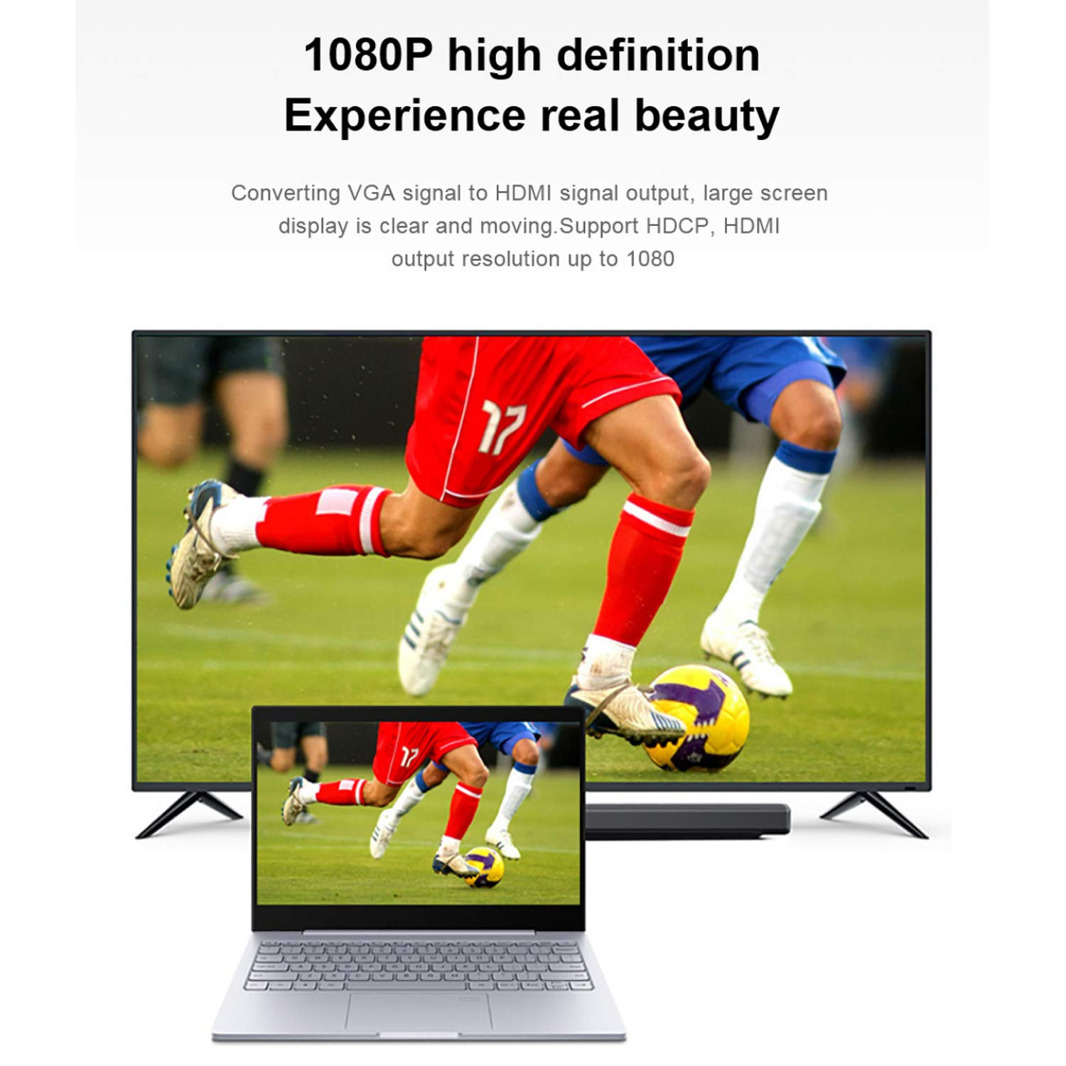 VGA to HDMI Adapter, VGA Male to HDMI Female Converter with 1080P HD Video and Audio Support for Connecting Laptop, desktop with VGA(D-Sub,HD 15-pin) to Monitor, HDTV with HDMI.(HDMI Female 12 inches) by Elecable (Image #4)