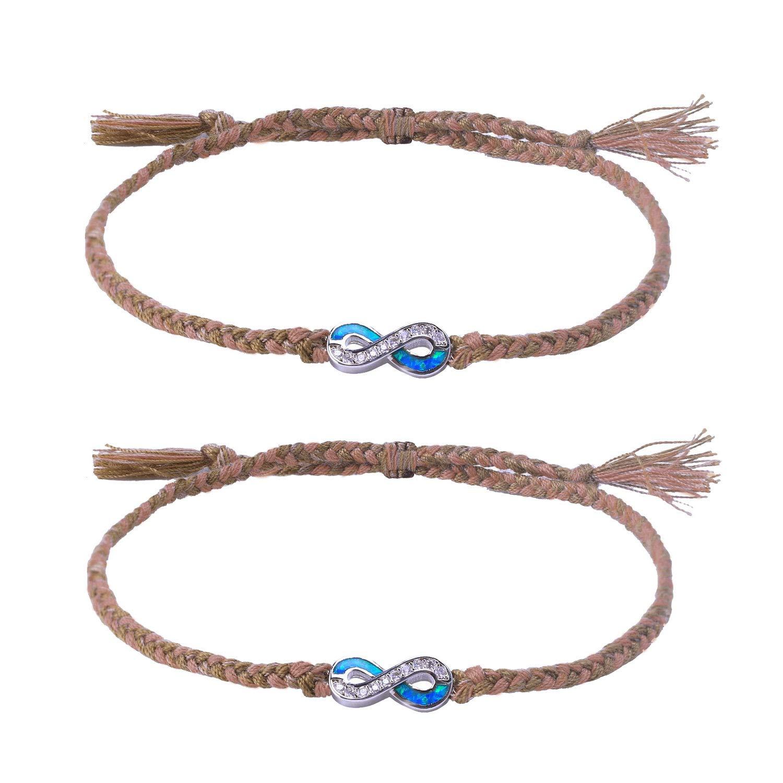 C·QUAN CHI Women Jewelry Bohemian Bracelets Woven String Bracelet Braided Friendship Bracelet Boho Style Jewelry Opal Infinity Endless Love Charm Adjustable Bracelet Lover Couple Bracelet Women Gifts