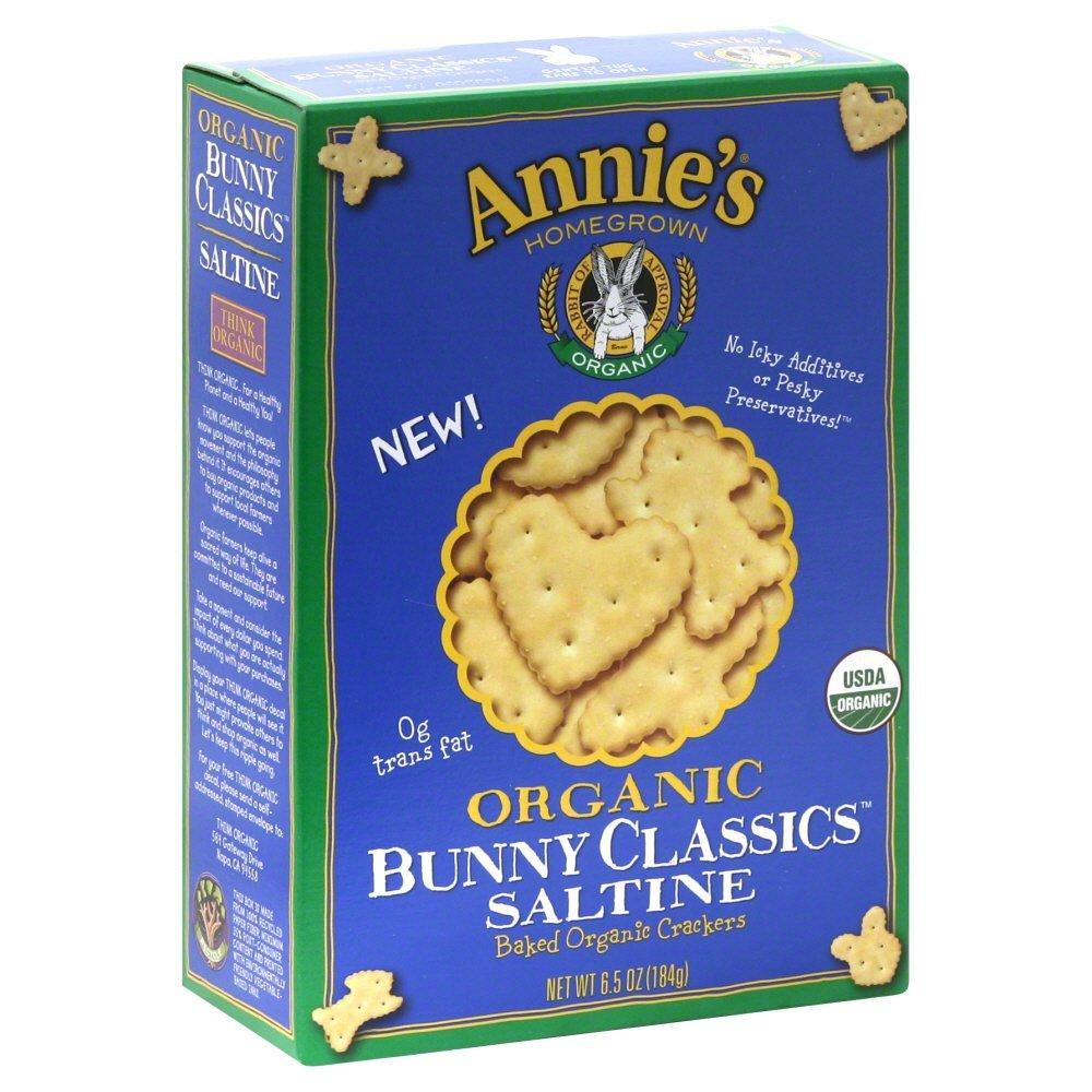 Annies Homegrown Organic Classics Saltine Bunny Cracker, 6.5 Ounce - 12 per case.