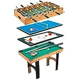 HOMCOM Mesa Multijuegos 4 en 1 Incluye Futbolín Air Hockey Ping-Pong y Billar Juguete de Madera para Niños y Adultos 87x43x73cm: Amazon.es: Juguetes y juegos