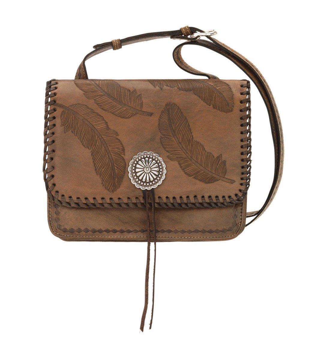 American West Women's Sacred Bird Feather Crossbody Purse Distressed Brown One Size