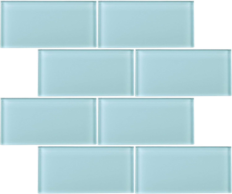 - Amazon.com: TCSAG-10 3x6 Blue Glass Subway Tile -Kitchen And Bath