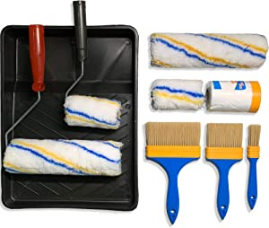 KOMOREBI Paint Roller Kit 9PCS Painting Tools Paint Roller with Microfiber Roller Cover,Paint Roller Frame, Paint Tray,Paint Brush and Taped Masking Film for Professional Painting Home Decor
