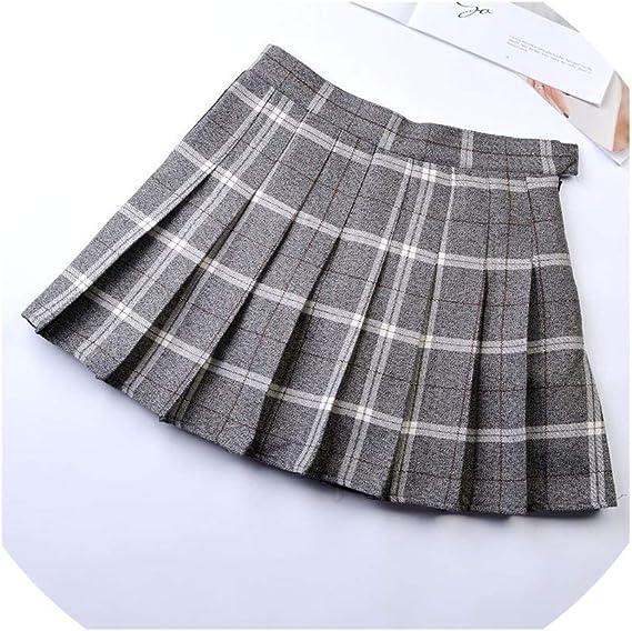 Falda Plisada de Cintura Alta, para niñas - - XXX-Large: Amazon.es ...