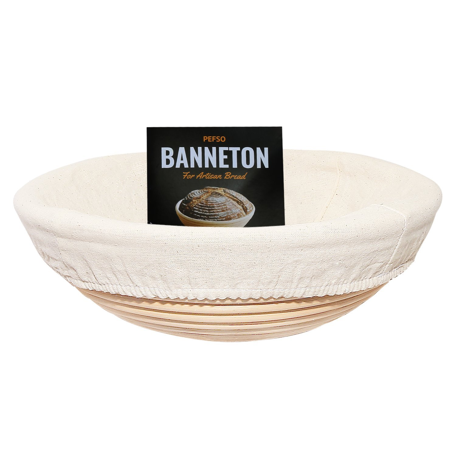 PEFSO 2pcs 9 Inch Round Banneton Rattan Bread Proofing Basket Brotform with Linen Liner clothfor Artisan Sourdough Bread