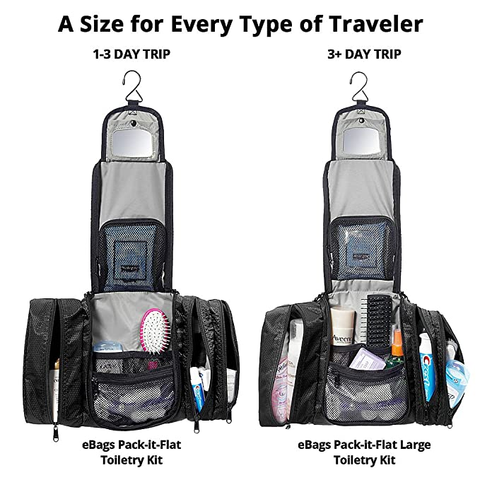 c477437673 Amazon.com  eBags Pack-it-Flat Hanging Toiletry Kit for Travel - (Black)   Clothing