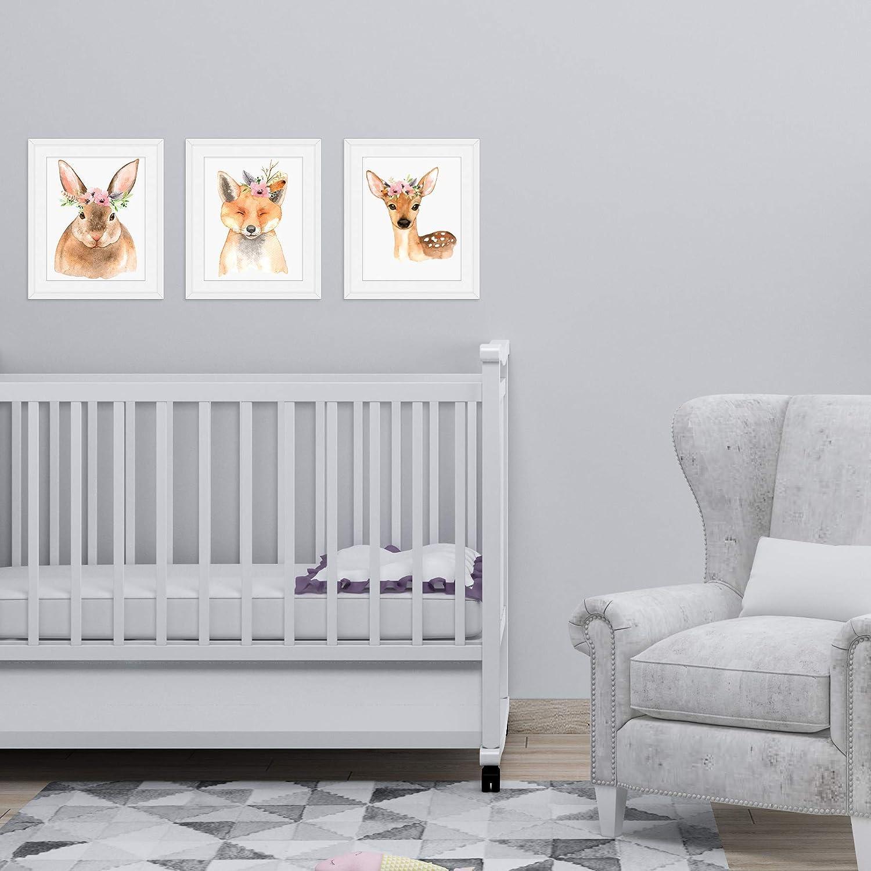 Woodland Creatures Nursery Wall Prints - 3 UNFRAMED Baby Girl Bedroom Decor  Fox Deer Rabbit Animal Whimsical Decor Posters 8x10\