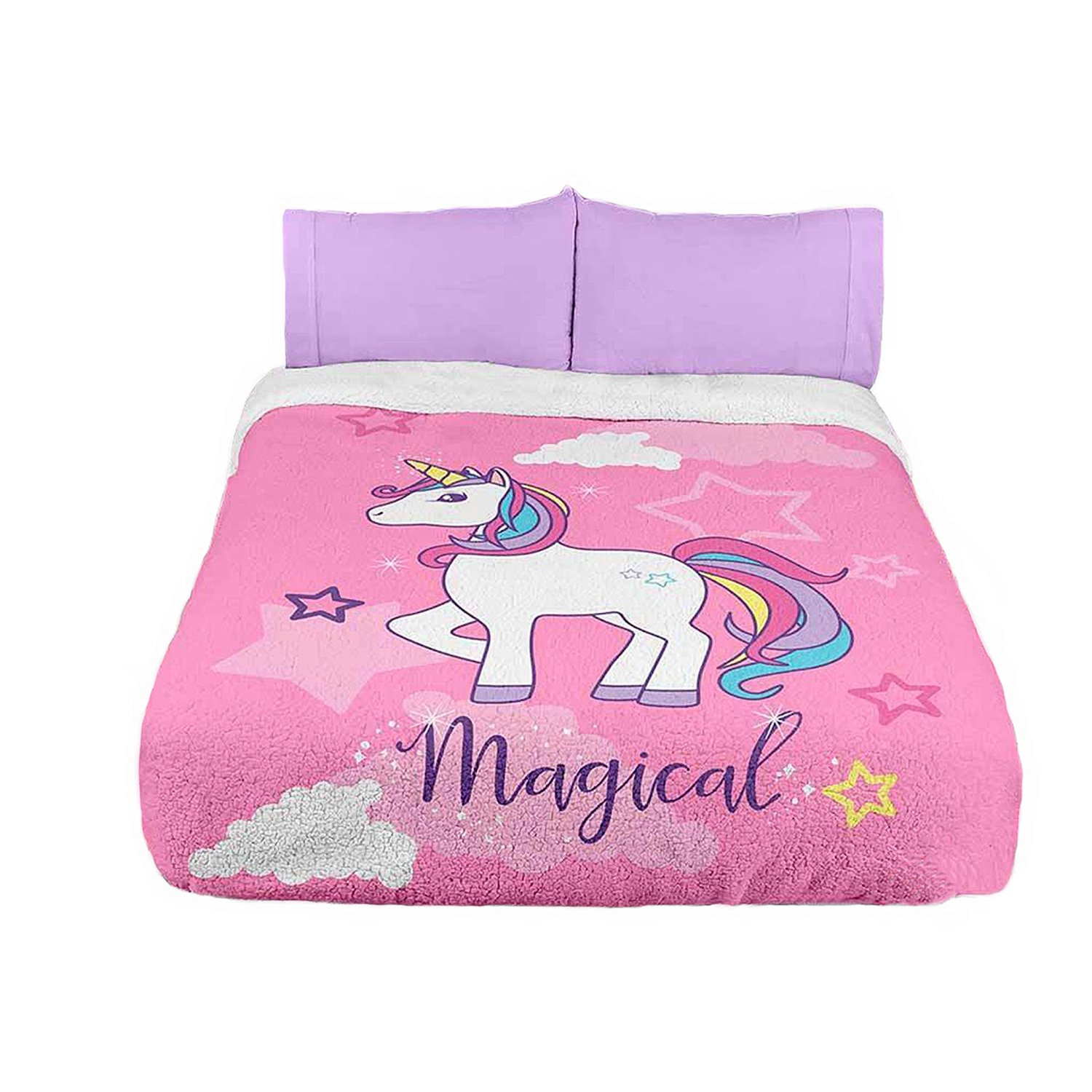 UNICORN TEENS GIRLS BLANKET WITH SHERPA VERY SOFTY THICK AND WARM 1 PCS FULL SIZE