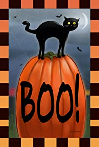 Toland Home Garden Boo Cat 28 x 40 Inch Decorative Black Kitty Halloween Pumpkin House Flag
