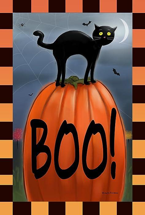 Toland Home Garden Boo Cat 12.5 x 18 Inch Decorative Black Kitty Halloween Pumpkin Garden Flag