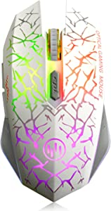 VEGCOO C12 Rechargeable Wireless Gaming Mouse Mice Silent Click Cordless Mouse 7 Smart Buttons PC Gaming Mouse Mice Advanced Technology with 2.4GHZ Up to 2400DPI (C12 White)