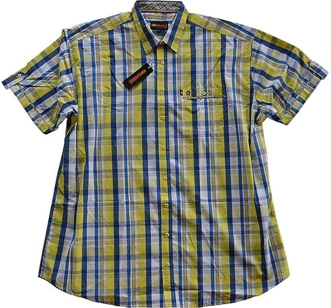 Oversize Camicia Maniche Corte kamro Blu//Giallo//Bianco a Quadri 3xl 12xl