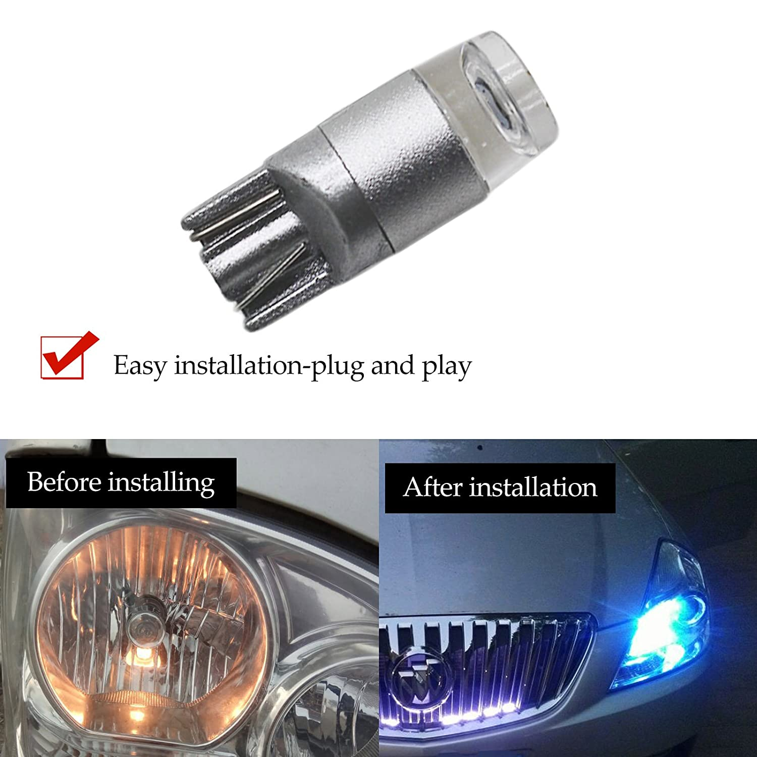 YaaGoo Compact Small bulb License Plate Lights Lamp,T10 168 194 2825 W5W,ice blue,6pcs