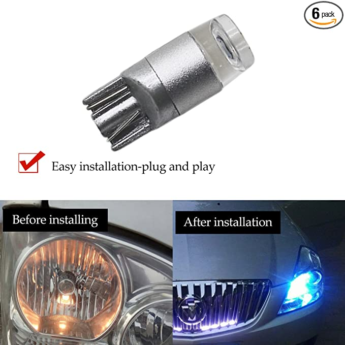 YaaGoo 6pack Compact Small bulb License Plate Lights Lamp,T10 168 194 2825 W5W,ice blue,6pcs