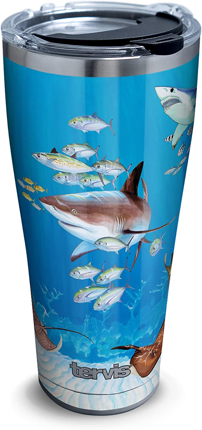 Tervis 1361052 Guy Harvey Shark Collage Insulated Tumbler, 30oz, Stainless Steel
