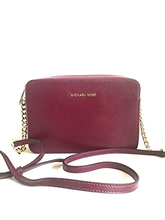 7e19660d5b91 Image Unavailable. Image not available for. Color: MICHAEL Michael Kors Jet  Set Travel Large Crossbody Bag - Plum Patent Leather