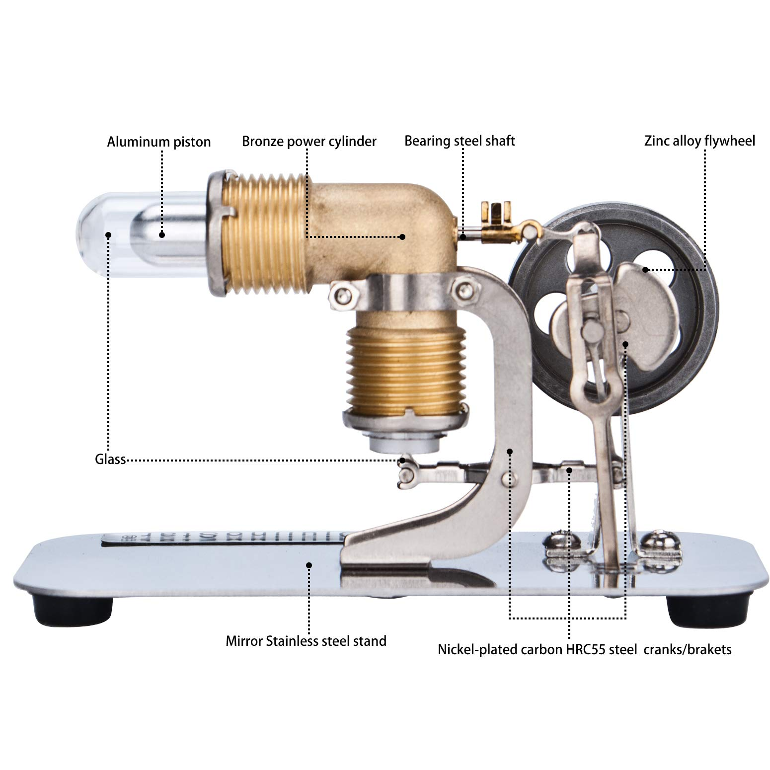 DjuiinoStar Mini Hot Air Stirling Engine: A High Performance Pocket-Sized Working Model by DjuiinoStar (Image #3)