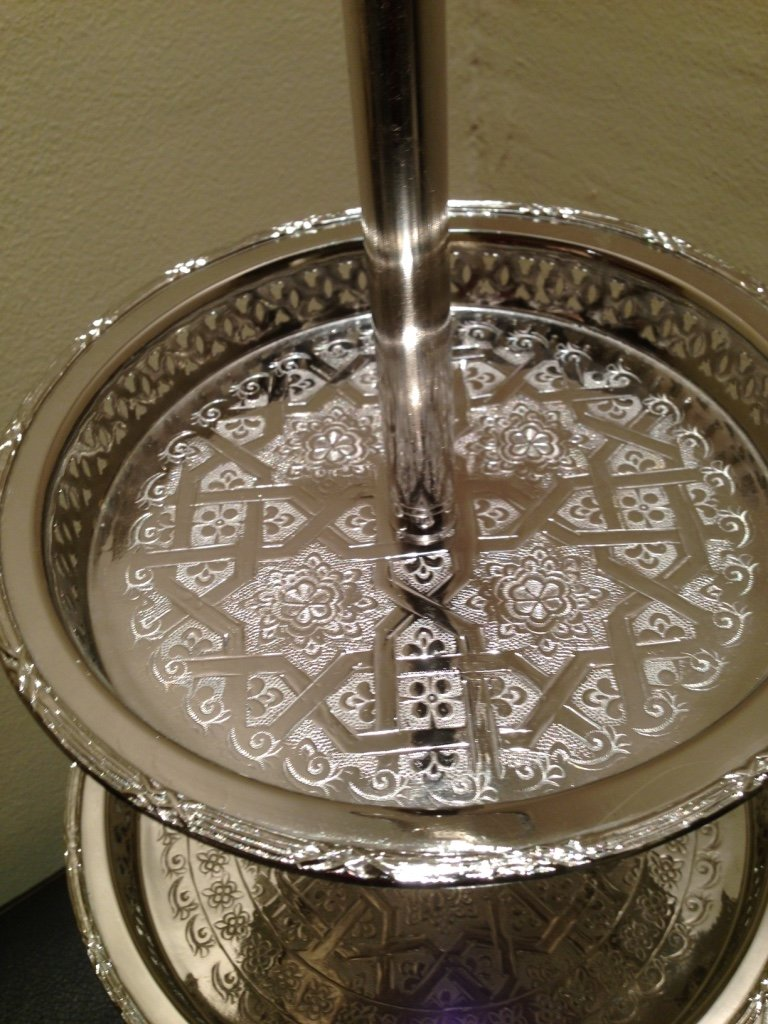 Authentic Handmade Moroccan 3 Tier Silver Plated Brass Hand hammered Cookies Tray Cake Stand Modern Design by Marrackech Decor (Image #4)