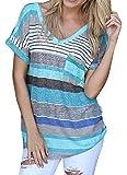 AIZESI Women Colourful Striped Summer Vest Tops Shirt Sleeve V-Neck Blouse Tops Shirt,Striped Short Sleeves