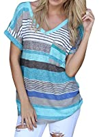 Liqy Women Colourful Striped Summer Short Sleeve V-Neck Blouse Tops Shirt,Striped short sleeves
