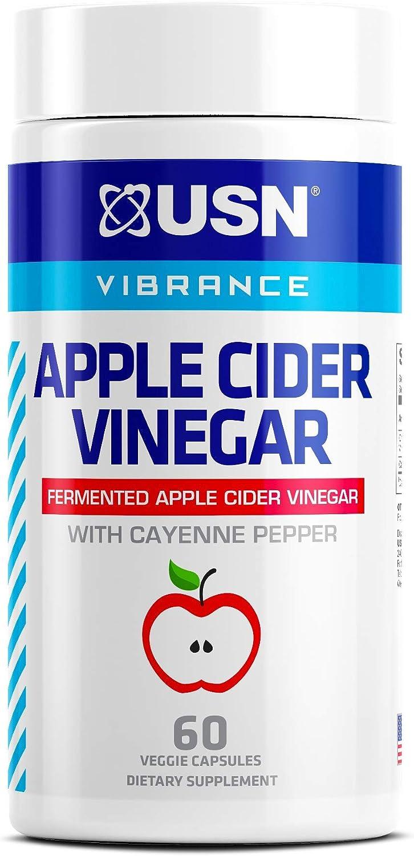 USN Vibrance Series Apple Cider Vinegar Supplement Capsules with Cayenne Pepper & Fermented Apple Cider Vinegar for Immune Support & Gut Health- 60 Veggie Capsules (Pack of 1)