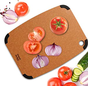 Firsmat Large Size Wood Fiber Cutting Board High Density Food Grade Lightweight Chopping Board for Kitchen Tool Non Slip Dishwasher Safe Cutting Plate