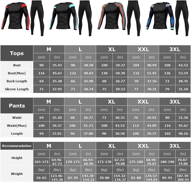 SKYSPER Homme Ensemble de sous-V/êtement Thermique de Sport S/échage Rapide Respirant Maillot de Corps Manches Longues Pantalon V/êtements de Sports pour Ski Running Randonn/ée Cyclisme Moto,XXXL,noir