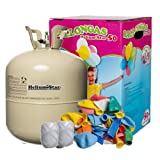 Helium Ballongas + 50 bunte Latexballons (Ø 25cm) + Polyband; HeliumStar® Einwegflasche XXL mit 0,420 m³ Liter Helium Gas reicht für alle 50 Ballons
