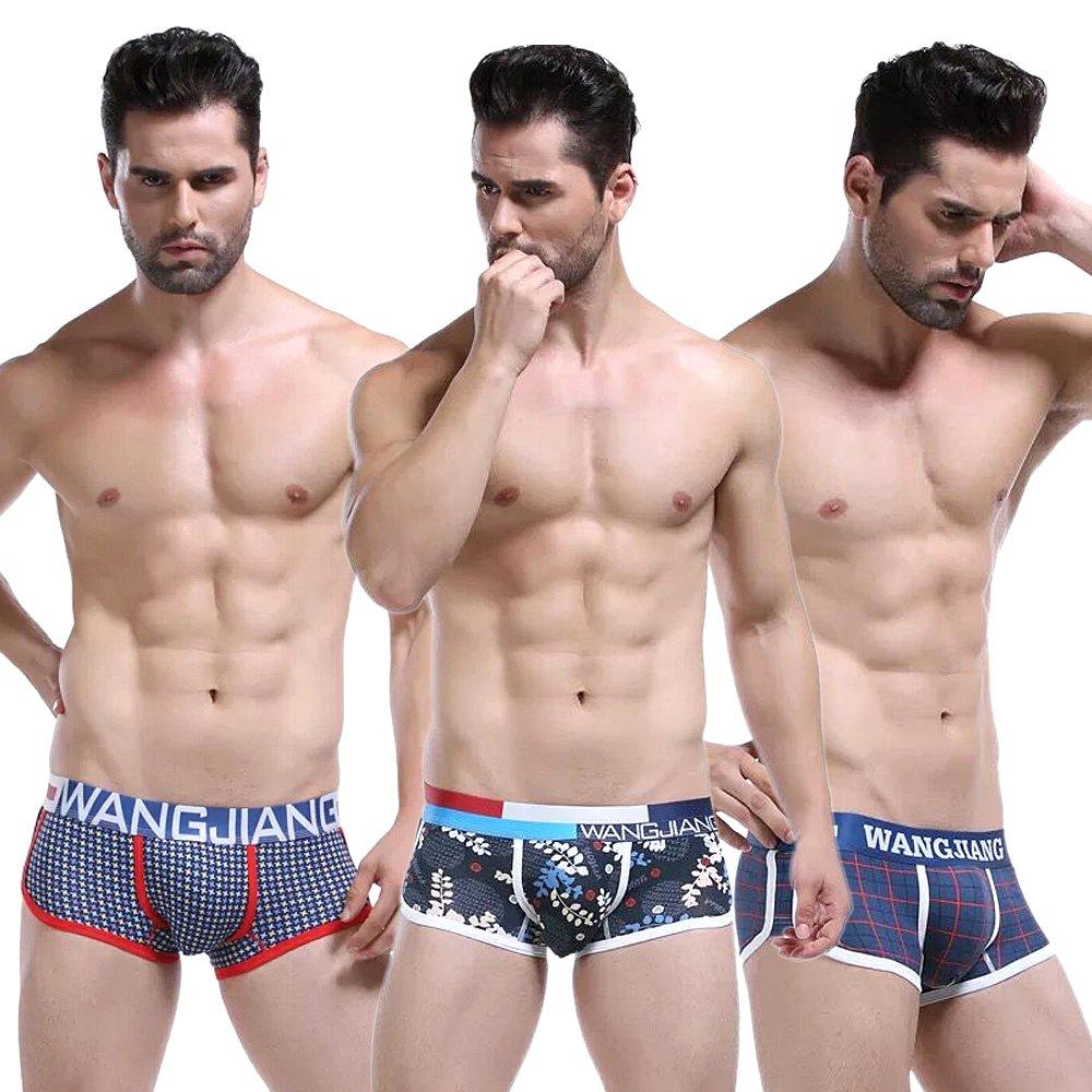 Ykeke 3Pcs//lot Mens Stripe Boxer Briefs Cotton Underwear Underpants Shorts Pack