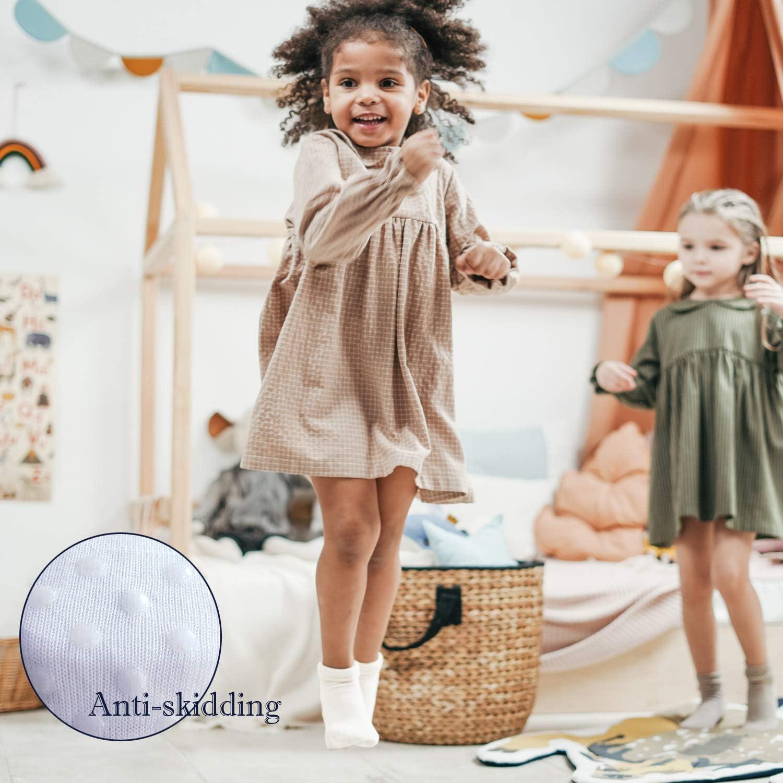 Jamegio 12 Pairs Anti Slip Toddler Socks Non Skid Ankle Socks with Grips for Baby Toddler Kids Boys Girls