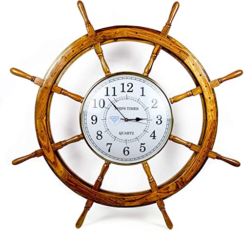 Nagina International Nautical Handcrafted Wooden Premium Wall Decor Wooden Clock Ship Wheels Pirate s Accent Maritime Decorative Time s Clock 60 Inches, Clock Size – 14 Inches
