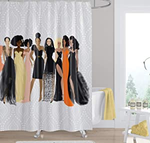 African American Expressions Shower Curtain with Hooks - 71 x 71 Inch, Sister Friends Nicholle Kobi