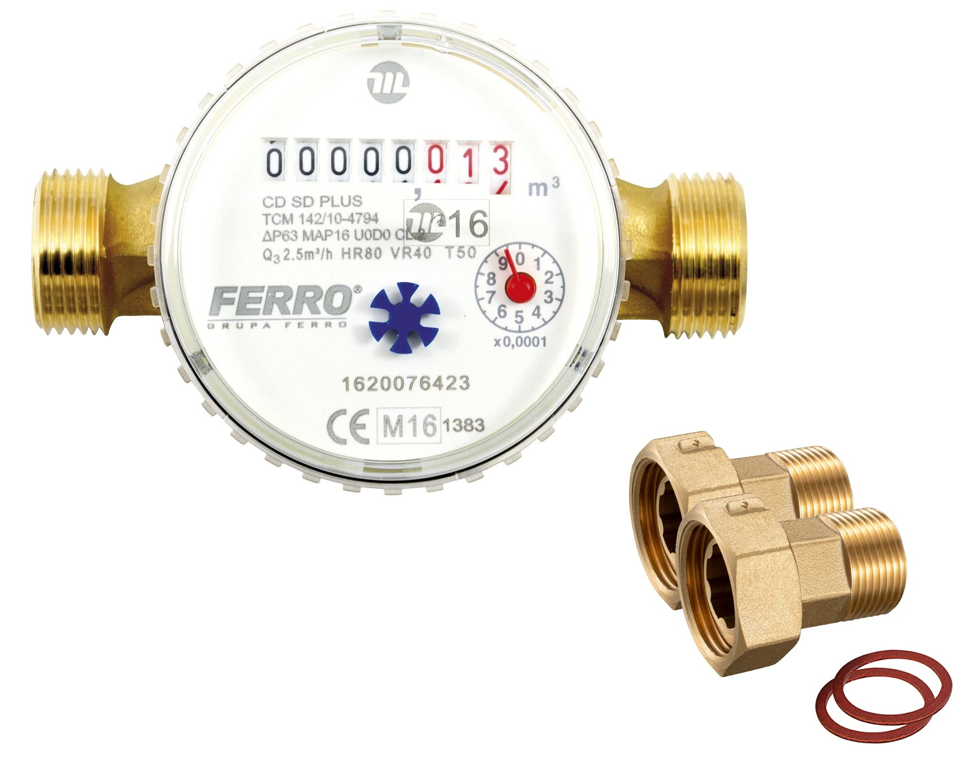 """BFG 15mm 1/2"""" Cold Water Meter Garden House Submeter reading up to 2.5m3/h"""