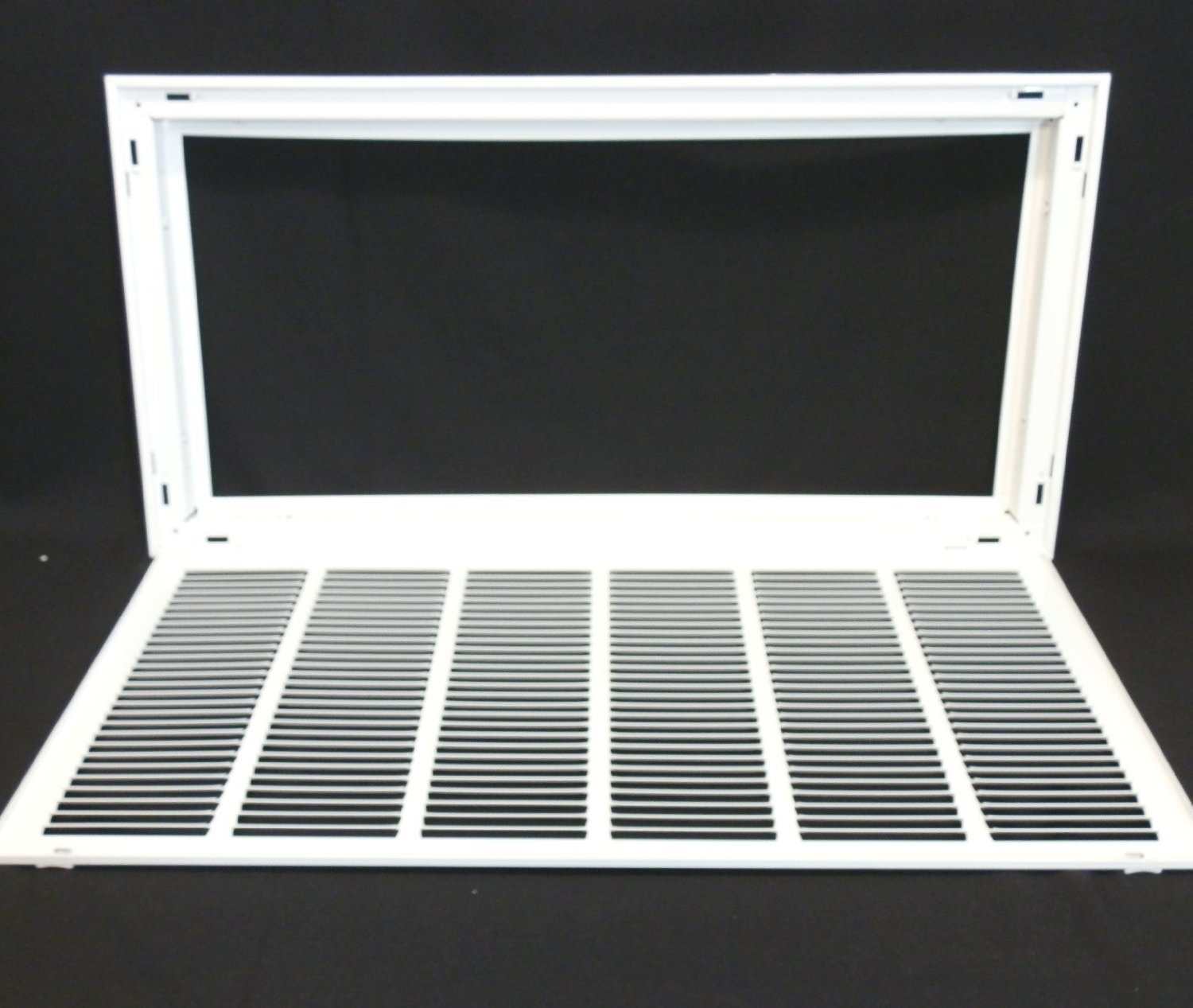 30'' X 14 Steel Return Air Filter Grille for 1'' Filter - Removable Face/Door - HVAC DUCT COVER - Flat Stamped Face - White [Outer Dimensions: 32.5''w X 16.5''h] by HVAC Premium (Image #2)