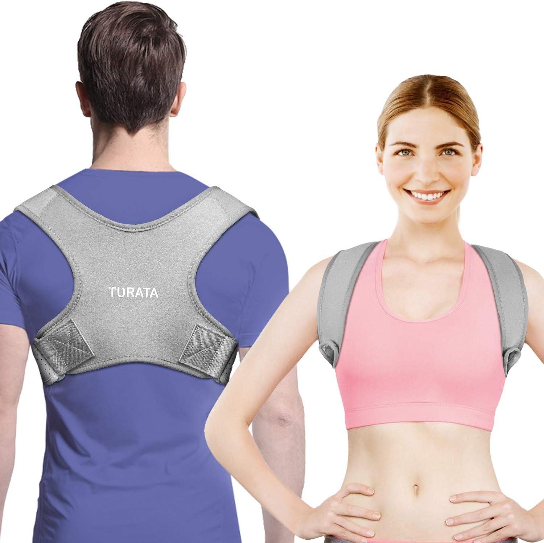 Corrector Postura Espalda y Hombros, TURATA Refuerzo Superior Ajustable para Aliviar el Dolor, Soporte de Clavícula, Mejora la Postura, Prevención y Mejora de Las Jorobas