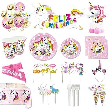 Kit de Artículos para Fiesta Cumpleaños Infantil Unicornio - Vajilla Desechable Rosa,Decoración y Accesorios Completa,148 Piezas - 16 Invitados