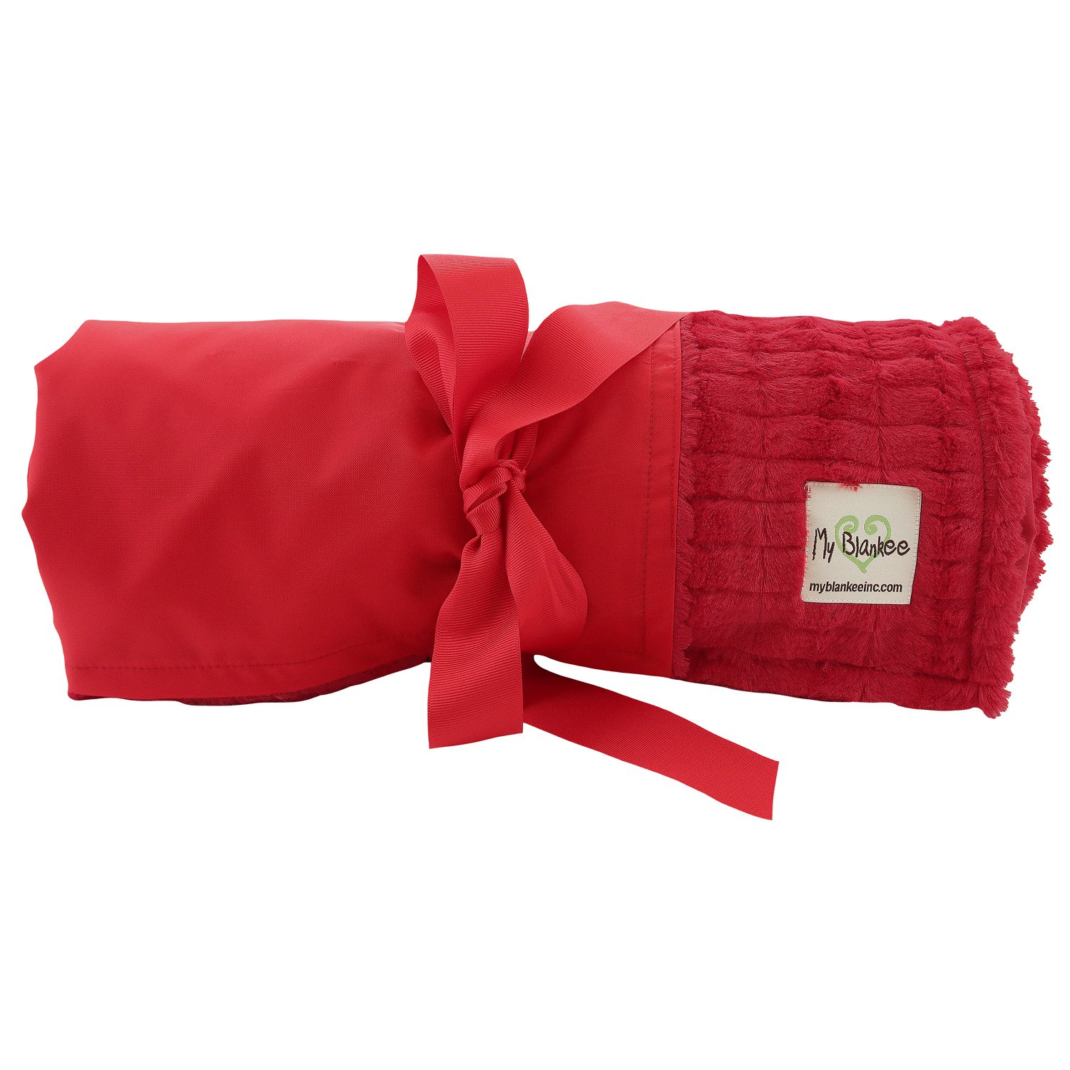 My Blankee Extra Large Picnic & Outdoor Blanket Warm and Soft Luxe Stipe with Waterproof Backing, Red, 59'' X 85''