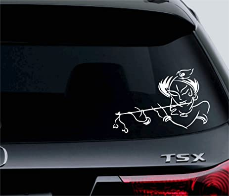Lord Krishna Om Car White Vinyl Decals Cool Truck Bumper Stickers #1738