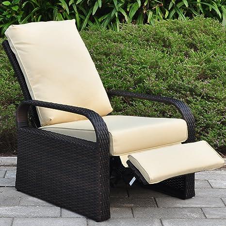 Silla reclinable de mimbre de resina para exteriores con ...