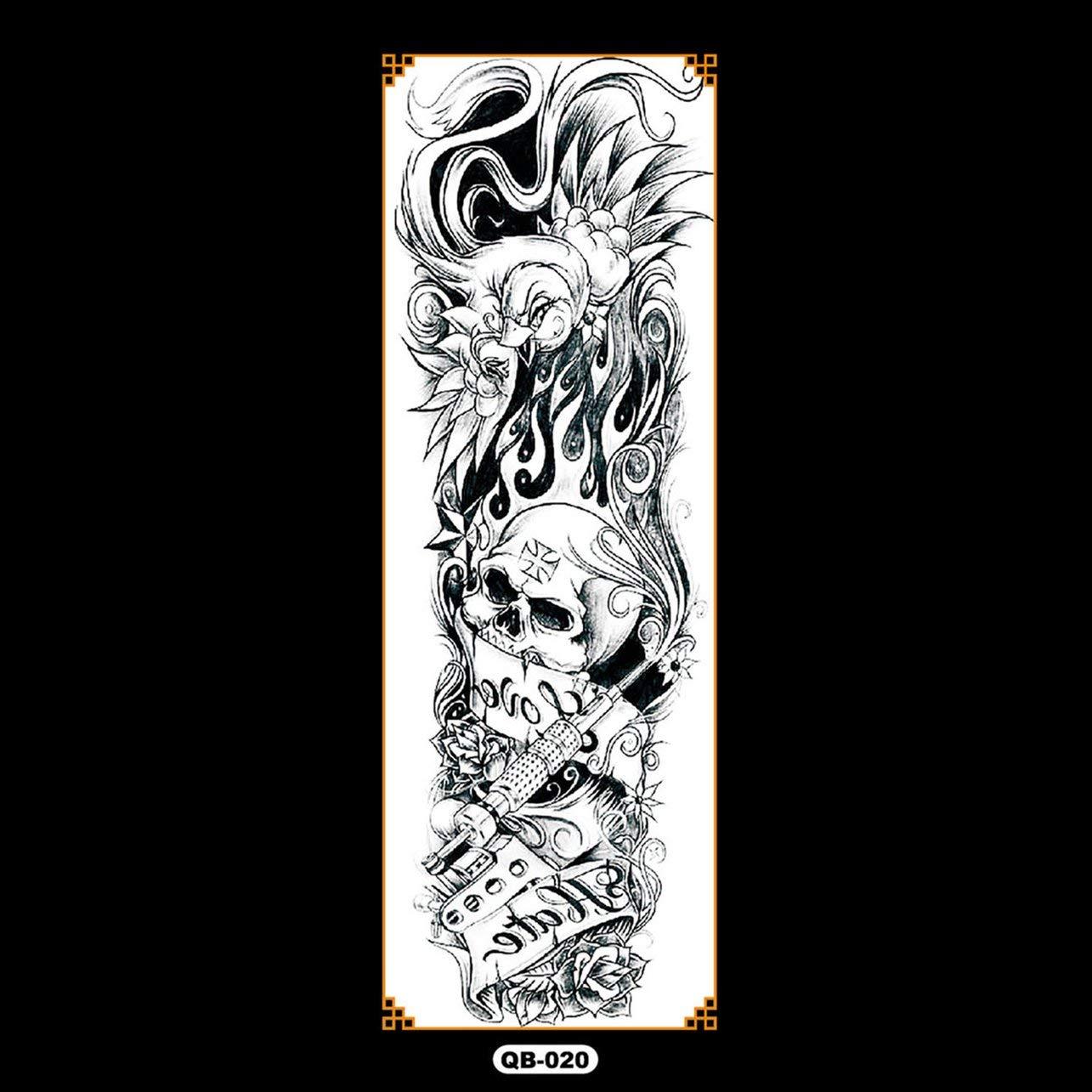 WOSOSYEYO QB Brazo Completo Etiqueta Engomada del Tatuaje de la Flor Impermeable Tatuaje Temporal Manga Hombres Mujeres Pintura Corporal Transferencia de Agua Falso Tatoo Manga