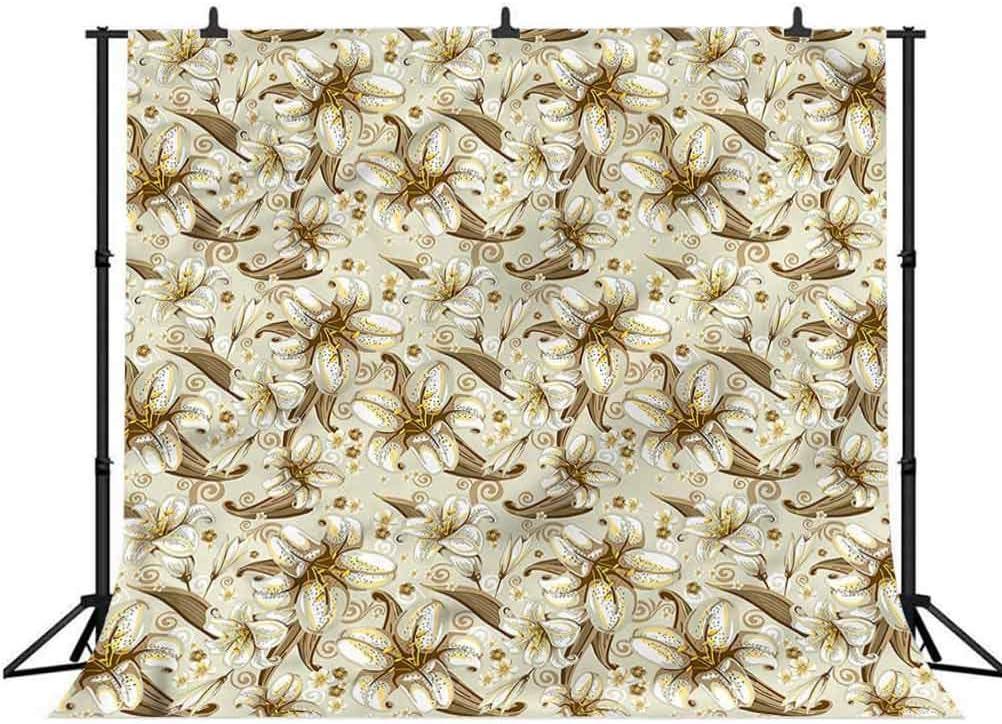5x5FT Vinyl Photography Backdrop,Beige,Blooming Flowers Petals Photoshoot Props Photo Background Studio Prop