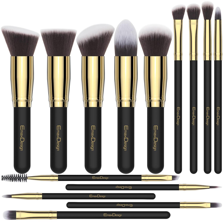 Make up Brushes EmaxDesign 14 Pieces Professional Makeup Brush Set Synthetic Foundation Blending Concealer Eye Face Liquid Powder Cream Cosmetics Brushes Kit (Golden Black)