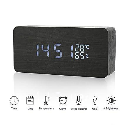 JoyShop Reloj Despertador Digital LED Despertador de Madera Relojes USB 3 Niveles Brillo Ajustable Voz Touch Activado Mostrar Hora Fecha Humedad ...