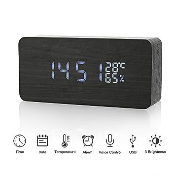 JoyShop LED Reloj Despertador Digital de Madera Relojes USB 3 Niveles Brillo Ajustable Voz Touch Activado Mostrar Hora Fecha Semana Humedad Temperatura para ...
