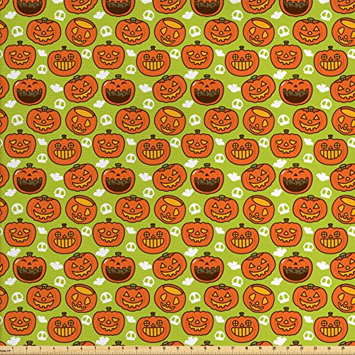 Lunarable Pumpkin Fabric by The Yard, Cartoon Style Traditional Scary Holiday Themed Pumpkins Skulls and Castles, Decorative Fabric for Upholstery and Home Accents, Apple Green ()