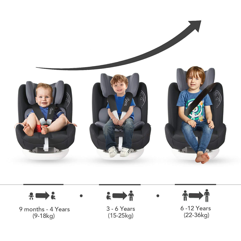 Isofix Reclinable Bonio Silla de coche grupo 1//2//3 9-36 kg