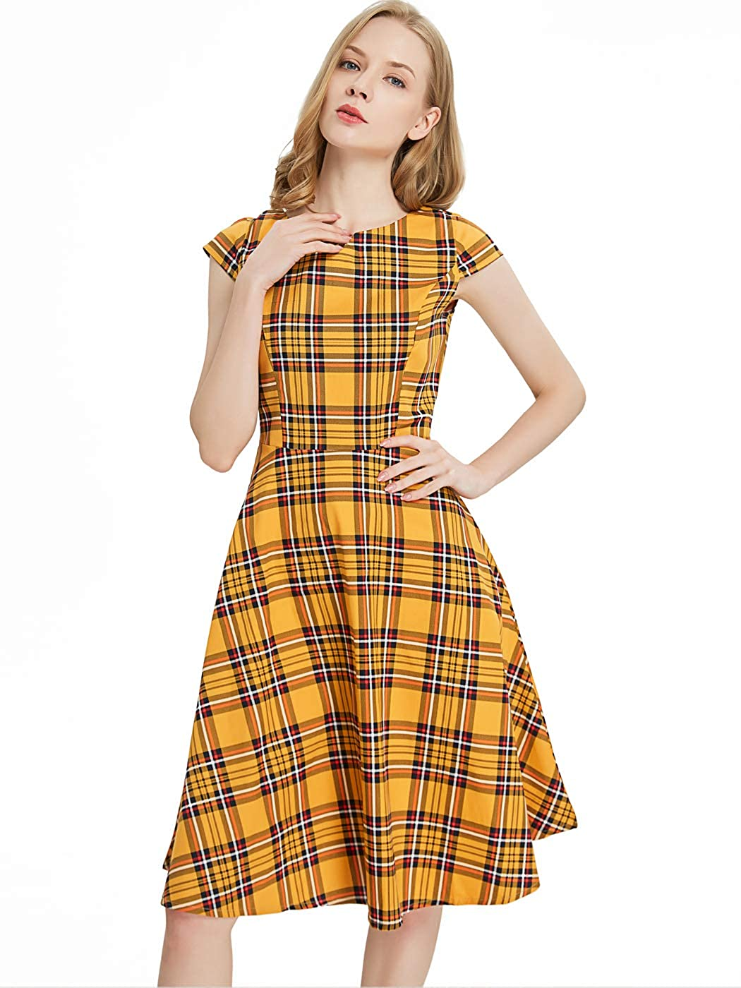 FAIRY COUPLE Vintage Rockabilly Cap Sleeves Prom Dress DRT019 Gold Plaid