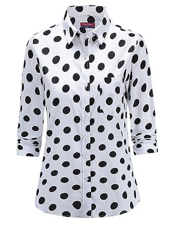 speical offer buying cheap the best attitude Dioufond Chemisier à Pois Femme Basique Chemise à Pois en Coton