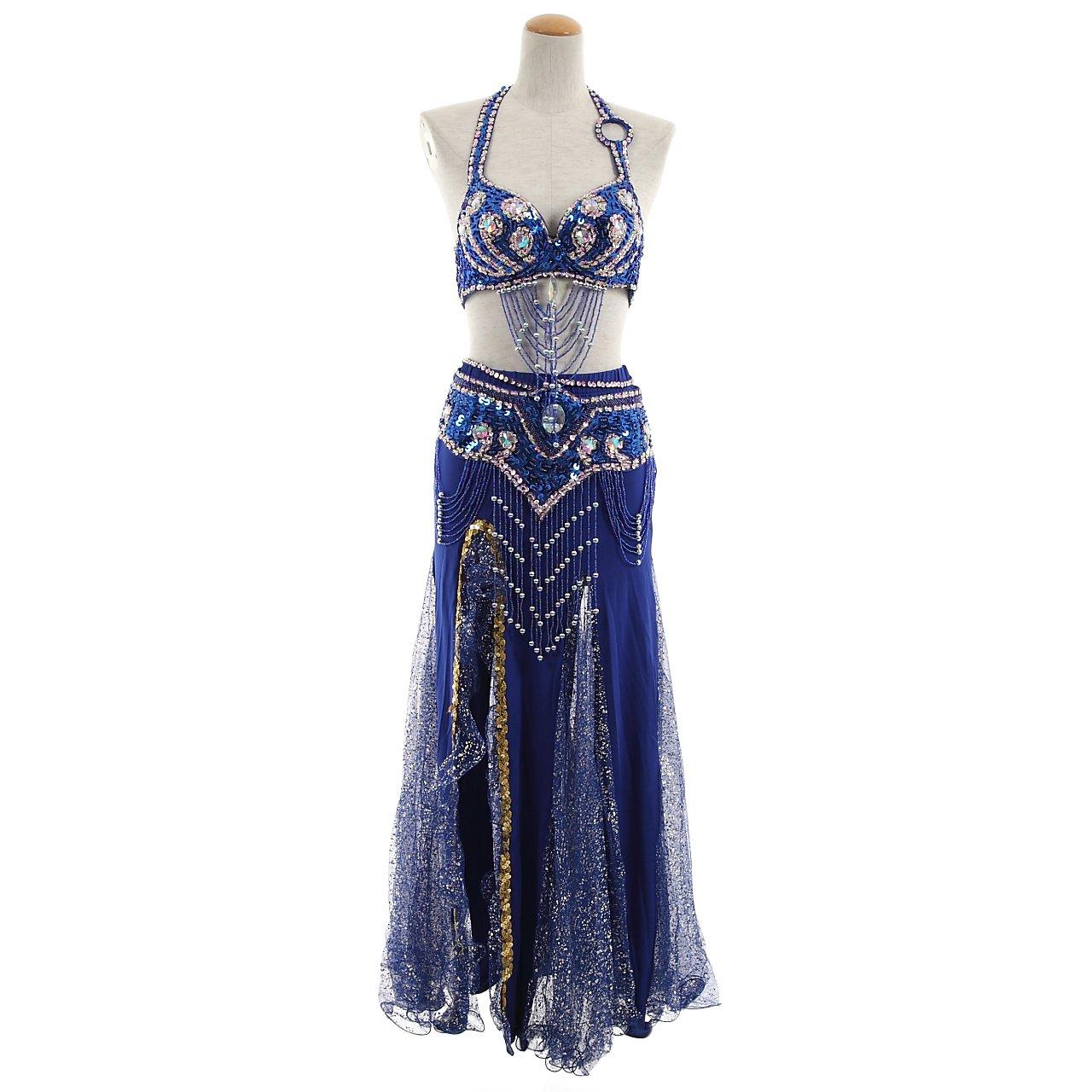 ベリーダンス衣装 本格的ステージ衣装 ブラ ベルト スリットスカート タトゥーシール4枚 フルセット belly-12 (青(BLUE)) B077CNGQRQ 青(BLUE)